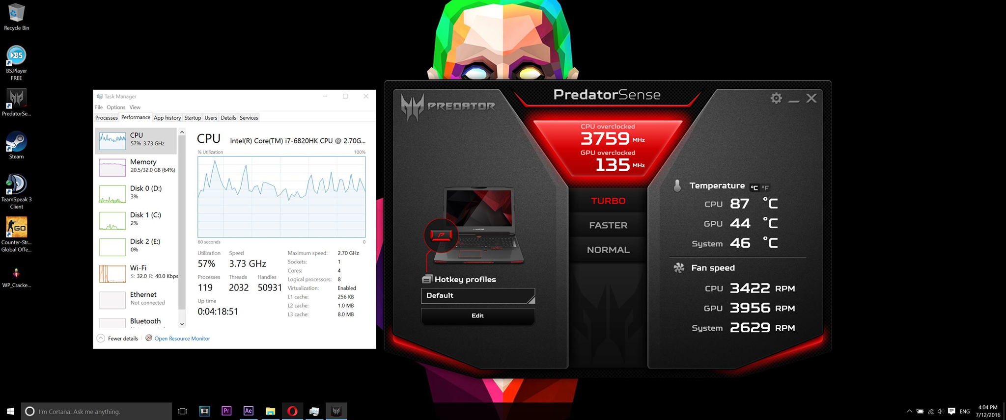 Acer Predator 17X (GX-791) rendering stats