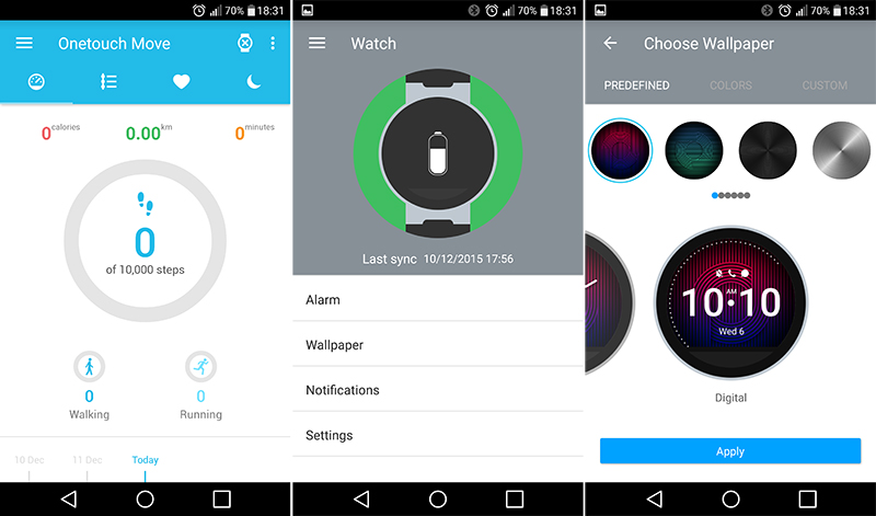 Alcatel Onetouch Watch Screenshot