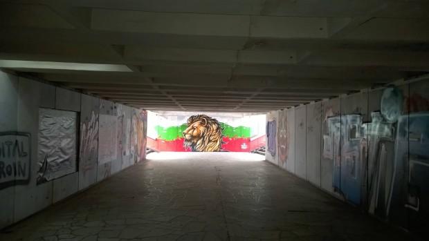 Българското знаме в тунел