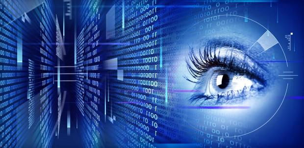Eye on technology background.